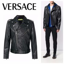 VERSACE Street Style Plain Leather Biker Jackets