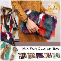 Tropical Patterns Faux Fur 2WAY Party Style Clutches
