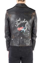 Saint Laurent Short Street Style Leather Handmade Biker Jackets