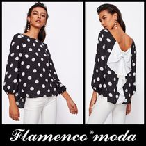 Short Dots Casual Style Puffed Sleeves U-Neck Cropped
