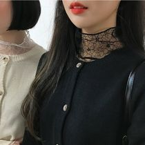 Flower Patterns Dots Long Sleeves High-Neck Lace