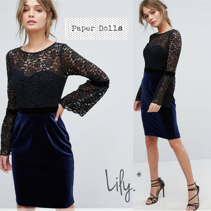 Crew Neck Plain Medium Party Style Lace Puff Sleeves Dresses