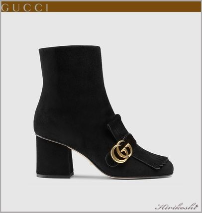 361c1aa44a0 GUCCI 2017-18AW Suede Plain Block Heels Elegant Style Mid Heel Boots ...
