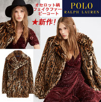 POLO RALPH LAUREN Leopard Patterns Faux Fur Cashmere & Fur Coats