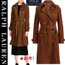 POLO RALPH LAUREN Suede Plain Long Elegant Style Peacoats