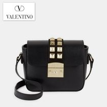 VALENTINO Casual Style Studded Plain Leather Shoulder Bags
