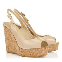 Jimmy Choo Enamel Plain Platform & Wedge Sandals