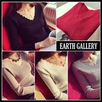 Casual Style Wool Street Style V-Neck Long Sleeves Plain