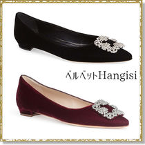 Manolo Blahnik Hangisi Suede Plain Block Heels With Jewels Block Heel Pumps & Mules