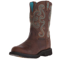 Justin Boots Cowboy Boots Casual Style Leather Mid Heel Boots