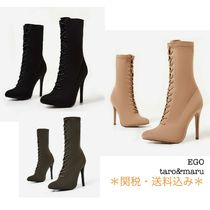 EGO Plain Pin Heels Elegant Style Ankle & Booties Boots