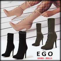 EGO Lace-up Plain Pin Heels Elegant Style Khaki Lace-up Boots