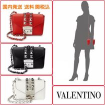 VALENTINO Star Studded Leather Elegant Style Shoulder Bags