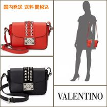 VALENTINO Studded Plain Leather Elegant Style Shoulder Bags