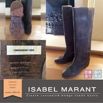 Isabel Marant Round Toe Casual Style Suede Plain Block Heels Flat Boots