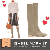Isabel Marant Round Toe Casual Style Suede Plain Block Heels