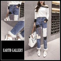 Casual Style Faux Fur Blended Fabrics Plain Long Jeans