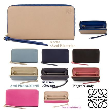 Lambskin Bi-color Plain Long Wallets