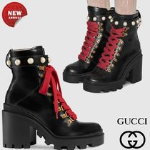 GUCCI Round Toe Casual Style Plain Leather Chunky Heels
