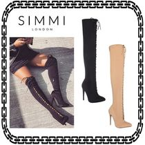 SIMMI Plain Pin Heels Elegant Style Over-the-Knee Boots