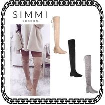 SIMMI Suede Plain Elegant Style Over-the-Knee Boots