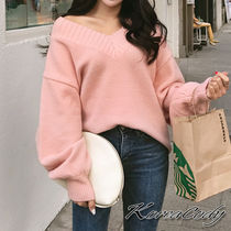 Casual Style Rib V-Neck Plain Medium Oversized Puff Sleeves