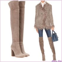 Gianvito Rossi Suede Plain Elegant Style Chunky Heels Over-the-Knee Boots