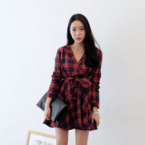 Short Other Check Patterns Casual Style V-Neck Long Sleeves