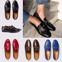 GUCCI Jordaan Round Toe Plain Leather Elegant Style Loafer Pumps & Mules