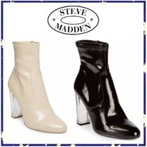 Steve Madden Round Toe Plain Leather Block Heels Ankle & Booties Boots