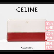 CELINE Zipped Lambskin Bi-color Plain Long Wallets
