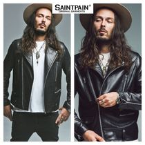 SAINTPAIN Unisex Street Style Plain Leather Biker Jackets