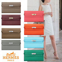 HERMES Kelly Blended Fabrics Bi-color Plain Leather Long Wallets