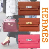 HERMES Kelly Blended Fabrics Plain Leather Folding Wallets