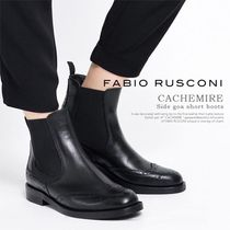 FABIO RUSCONI Plain Leather Chelsea Boots Wedge Boots
