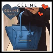 CELINE Casual Style Unisex Calfskin A4 Plain Totes