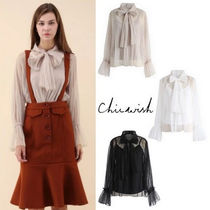 Chicwish Long Sleeves Plain Elegant Style Shirts & Blouses