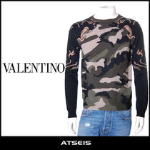 VALENTINO Crew Neck Cashmere Fine Gauge Street Style Long Sleeves
