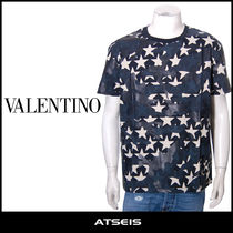 VALENTINO Crew Neck Pullovers Camouflage Street Style Cotton