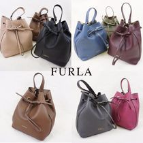 FURLA Casual Style 2WAY Plain Leather Purses Shoulder Bags