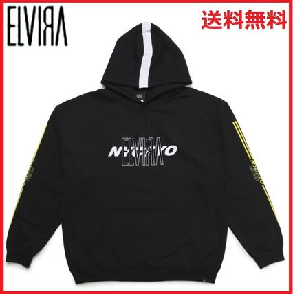 Street Style Long Sleeves Logos on the Sleeves Hoodies