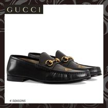 GUCCI Plain Toe Loafers Leather Loafers & Slip-ons