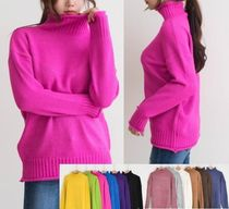 Casual Style Long Sleeves Plain Medium High-Neck Oversized