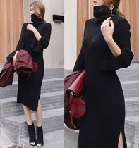 Maxi Plain High-Neck Elegant Style Puff Sleeves Dresses