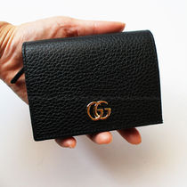 GUCCI GG Marmont Plain Leather Folding Wallet Folding Wallets