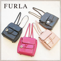 FURLA Casual Style Plain Leather Backpacks