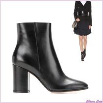 Gianvito Rossi Plain Leather Chunky Heels Ankle & Booties Boots