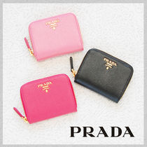 PRADA Plain Leather Coin Purses