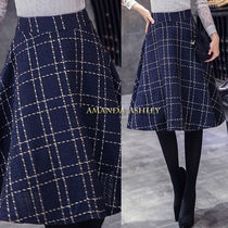 Flared Skirts Other Check Patterns Casual Style Nylon Medium