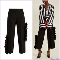 MSGM Plain Long Elegant Style Cropped & Capris Pants